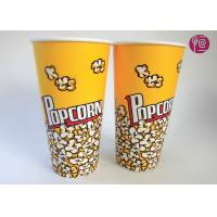 Quality 24oz Top95mm Disposable Popcorn Buckets With Paper Lid / Neutral Print for sale