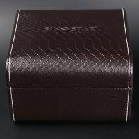 Quality Single Twist Brown Leather Watch Box Elegant Style Recyclable With Stitching for sale