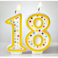 Quality Custom Arabic Number Birthday Candles 1 To 18 With Colorful Dot No Harmful for sale