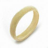 Quality 925 Sterling Silver Bangle with Fashionable Design and Gold Plating for sale