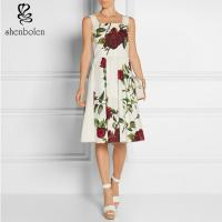 China Chiffon Rose Floral Print Women'S Casual Dresses Frocks Square Neck Sleeveless on sale