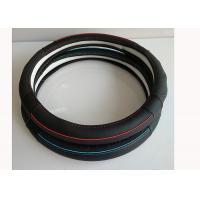 Quality Durable Car Steering Wheel Cover With Red Pipe Blue Pipe Genuine Leather Material for sale