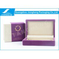 Quality Custom Cosmetic Packaging Boxes , Velvet Fabric Eco Purple Packaging Boxes for sale