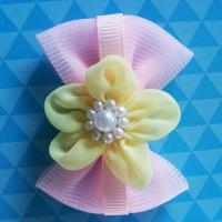 Quality Pink Toddler Girl Hair Accessories Handmade Customized Size With Bead Ribbon for sale