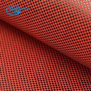 China 3K carbon fiber 1500D kevlar hybrid fabric, 3K 200g carbon fiber Hybrid Red kevlar fabric Cloth on sale