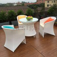Aluminum frame synthetic white color outdoor dining rattan for White metal outdoor dining table