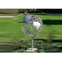 Quality Decorative Stainless Steel Sculpture With Semi - Meridian Globe Shape for sale
