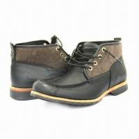 Quality Men's Fashionable Leather Shoes with Stacked Heels for sale