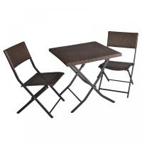 Quality 3 Piece Rattan Table And Chairs Patio Deck Outdoor Foldable Furniture Wicker Set Cheap Rattan Furniture for sale