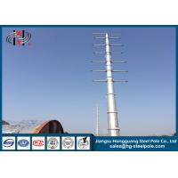 Quality Dodecagonal Hot Dip Galvanized Steel Pole , Steel Transmission Poles For Electrical Power Transmission Line for sale