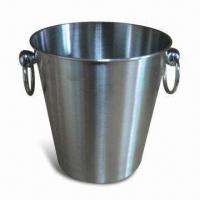 Quality Stainless Steel Ice Bucket with Two Handles, Sandy Polish and 1,500mL Capacity for sale