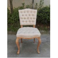 French furniture button tufted dining chairs oak wood for Tufted dining chairs for sale