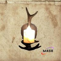 Quality Maso Vintage Style resin material antlers wall sconce retro lamp with marble cover E14 screw LED bulb for sale