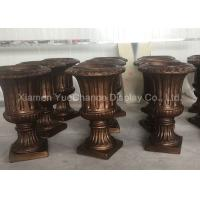 Quality Custom Design Fiberglass Resin Statues Store Decorative Brown Fiberglass Flower Pots for sale