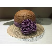 Womens Purple Sun Hats Satins Flower With 8.5cm Brim For Stage