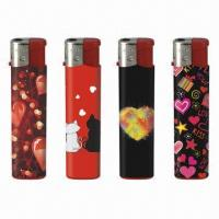 China Slim Electronic Refillable Gas Lighters with Flame Adjustable on sale