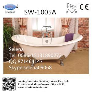 Quality freestanding cast iron bathtub, cast iron bateau bathtub,Dual slipper cast iron bathtub for sale