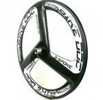 Quality 700C Fixed Gear Clincher Carbon Track Bike Wheels 23MM Width Aero 3 Spoke Black for sale