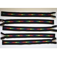 Quality Plastic Type Sewing Notions Zippers , rainbow teeth multi colored zipperr for garment for sale
