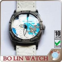 China Genuine Leather Strap Embossed Ladies Stainless Steel Watch High End Dial Watch on sale