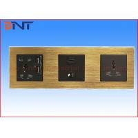 Quality Black 3 Way Wall Socket Plates / Bedroom Media Hub Socket Panel for sale