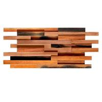China Solid Wood Mosaic Wall Panels , Room Reclaimed Boat Wood Wall Panel on sale