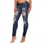 Quality Dark sandblast wash denim destroyed skinny jeans,made of 85%cotton +10%Polyester+5%Elastane for sale