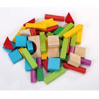 China 50pcs Wood Building Block Set with Carrying Bag colored wooden blocks small size on sale