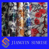 Quality Environmental Knitted Microfiber Synthetic Leather With Flowers Printing for sale