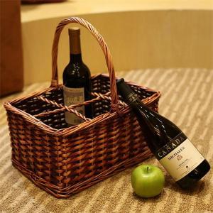 China wicker wine storage basket with handle on sale