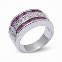 Quality 925 Sterling Silver Ring with CZ and Rhodium Plating for sale