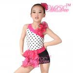 Quality Children'S Dance Costumes Black Polka Dots Top Biketard Ballet Dance Costume for sale
