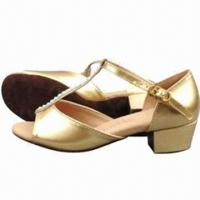 Quality Girls' Latin Dance Shoes with Glittery Leather Upper and Suede Soles for sale