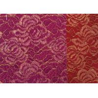 Quality Red Golden Embroidery Sequin Lingerie Lace Fabric For Wedding Dress , Decoration Lace Fabric for sale