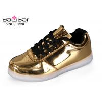 China Lace Up USB Charging 7 LED Casual Shoes , LED Light Sneakers Golden Color on sale
