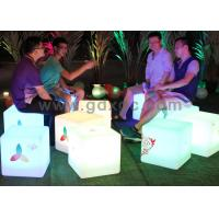 Quality LED Ottoman Cube Bar Chairs , Rechargeable Waterproof Glowing Cube Table for sale