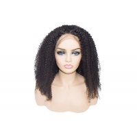 Quality #1B Natural Black deep curly 13x6 lace front wig pre plucked bleached knots for sale