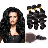 Buy Black Color 100 Virgin Cambodian Loose Curly Hair With Baby Hair Natural at wholesale prices