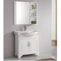 42 Inch Single Sink Bathroom Vanity 2 Doors Round Bathroom Vanity Cabinets 16mm Solid Wood For