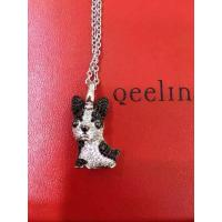 Qeelin Puppy Bo Bo pendant in 18K white gold with pave diamonds and sapphires Necklace