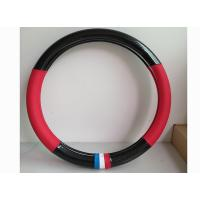 Quality Fashion Carbon Fiber Leather Car Steering Wheel Cover Black And Red Color for sale