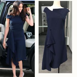 China European Harry Princess Megan Chic Slim Dress Off Shoulder Women Sexy Brief Dark Blue Irregular Midi Dress Elegant on sale
