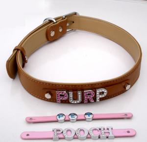 China DIY Rhinestone Buckle Dog Collar PU Leather Pet Collars on sale