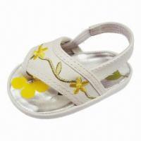 Flower Embroidery Leather EVA Footbed Sandal