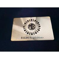Quality Single Side Metal Membership Card Stainless Steel Plated Gold Cut Thru Logo Etch Text Silkscreen Print Color for sale