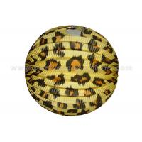 Leopard Printed Decorative Accordion Paper Lanterns Round For Wedding Centerpieces