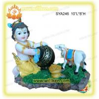 Polyresin Indian God-Baby Krishna with Cow Pooja