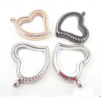 Quality 30mm Heart Floating Charms Locket Pendant with Crystals 316L Stainless Steel for sale