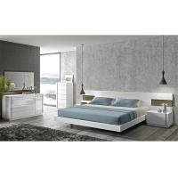 Buy Turkish Cream Gloss Bedroom Furniture Sets , E1 MDF Long Headboard Bed at wholesale prices