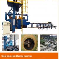 China Continuous Type Steel Pipe Shot Blasting Machine , Outer Wall Abrasive Blasting Machine on sale